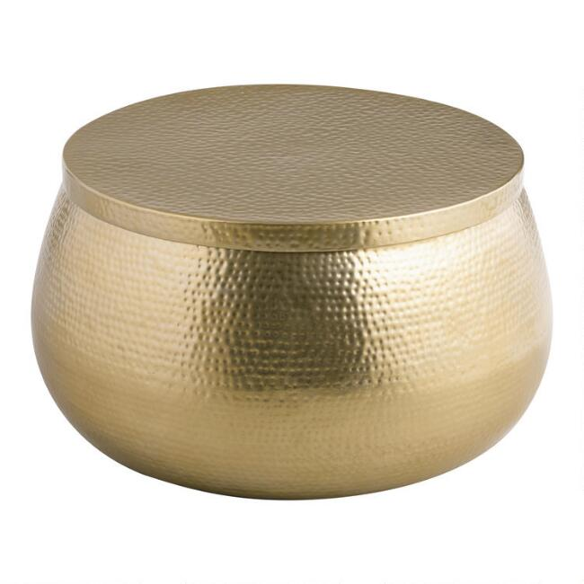 Round Gold Hammered Metal Cala Coffee Table