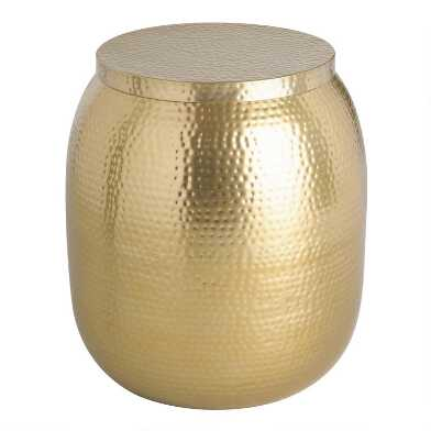 Gold Hammered Metal Drum Cala Accent Table