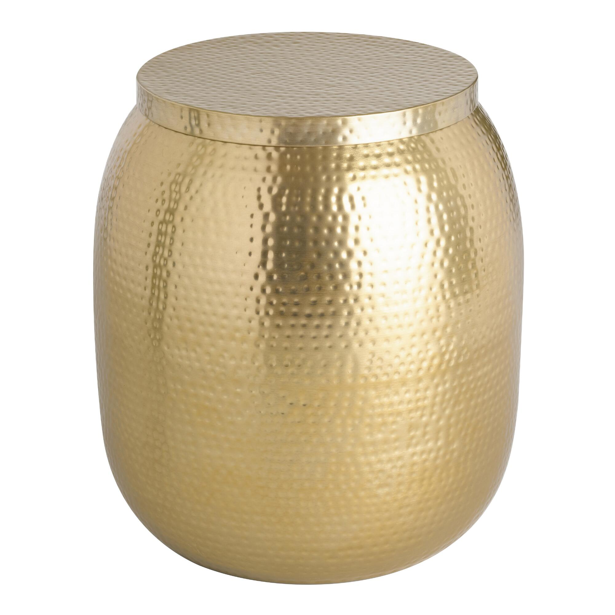 gold cala hammered drum accent table. cala hammered drum table  world market