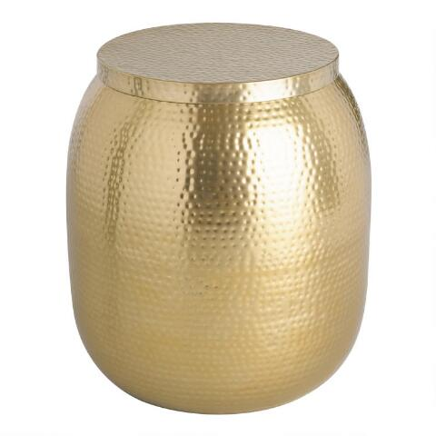 Gold Hammered Metal Drum Cala Accent Table Previous V7 V1