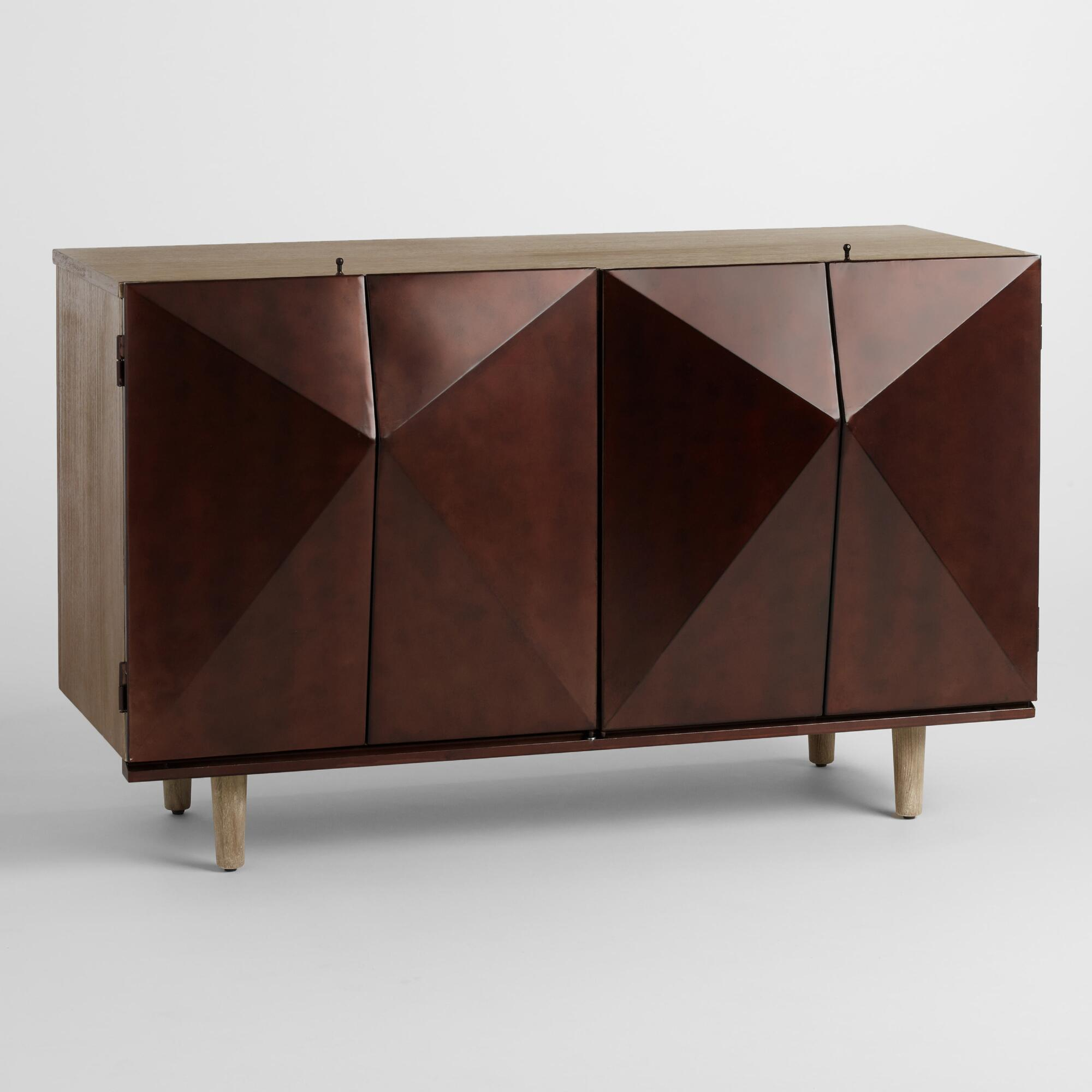 Faceted Wood Storage Cabinet. TV Stands  Media Console   Cabinets   World Market
