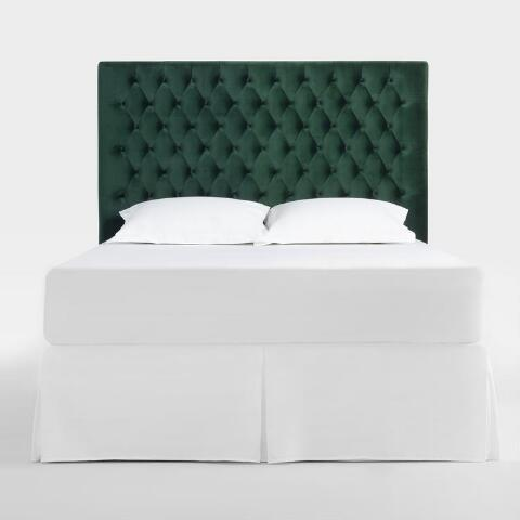 Forest Green Jaelyn Tufted Queen Headboard | World Market