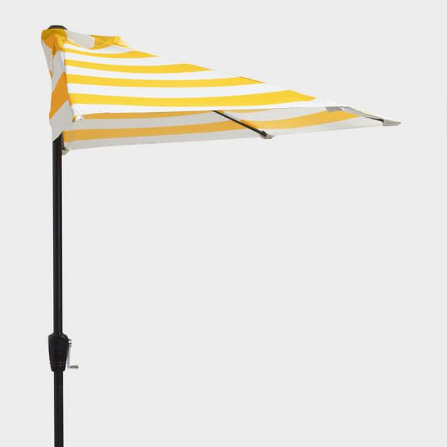 Yellow Awning Stripe Outdoor Half Umbrella