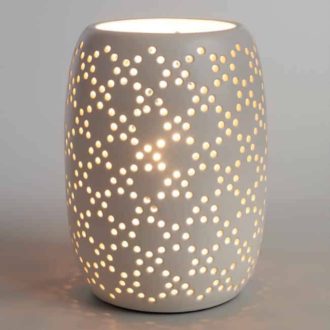- White Pierced Ceramic Table Lamp World Market