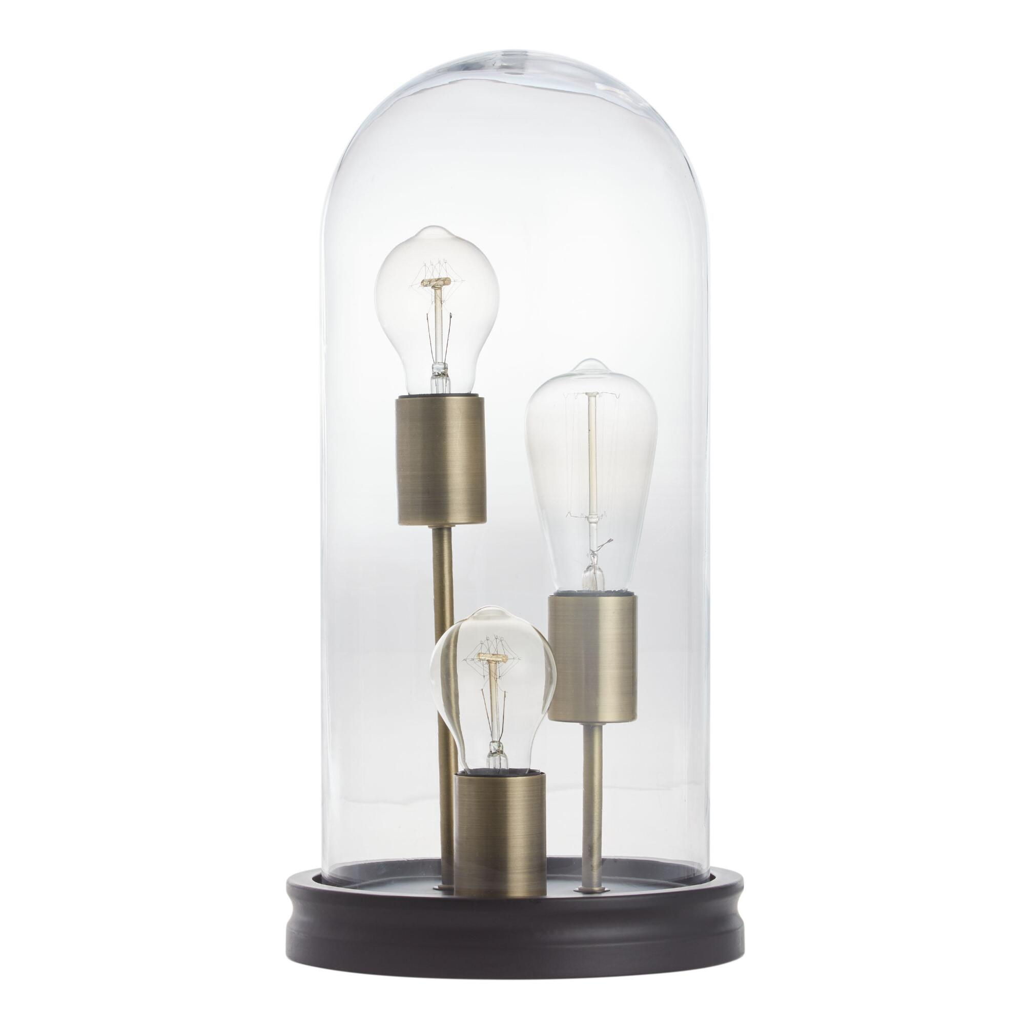 glass cloche 3 edison bulb table lamp - Decorative Lighting
