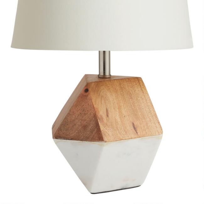 White marble and wood liam accent lamp base world market