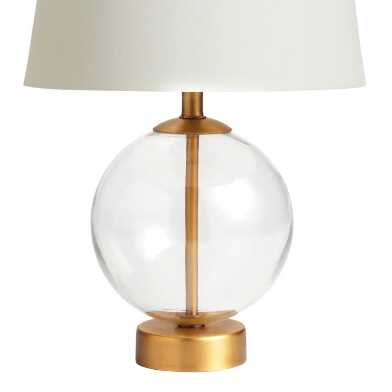 Glass Globe and Brass Serena Accent Lamp Base