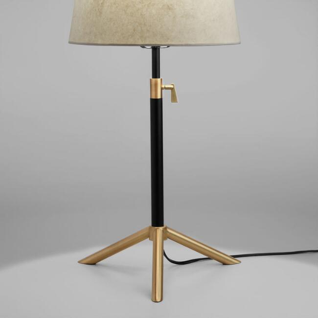Black and Brass Telescoping Table Lamp Base