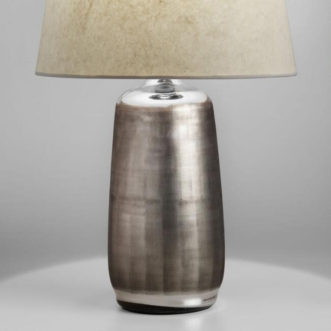 - Antique Silver Etched Glass Zara Table Lamp Base World Market