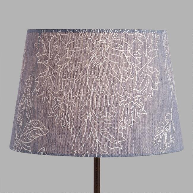 Floral Embroidered Chambray Accent Lamp Shade