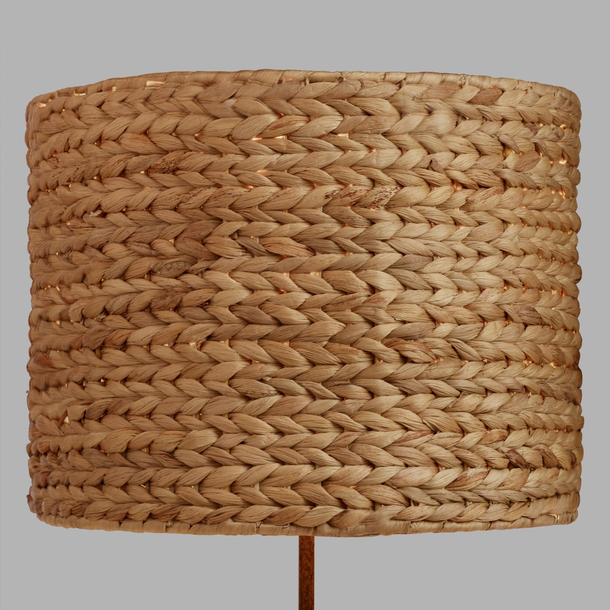 Orange and turquoise lamp shade - Woven Water Hyacinth Drum Table Lamp Shade