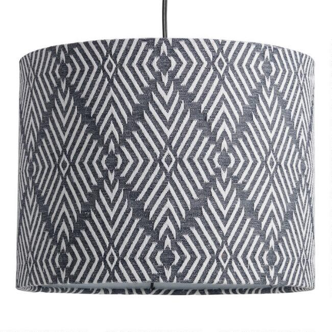Indigo Embroidered Diamond Drum Table Lamp Shade