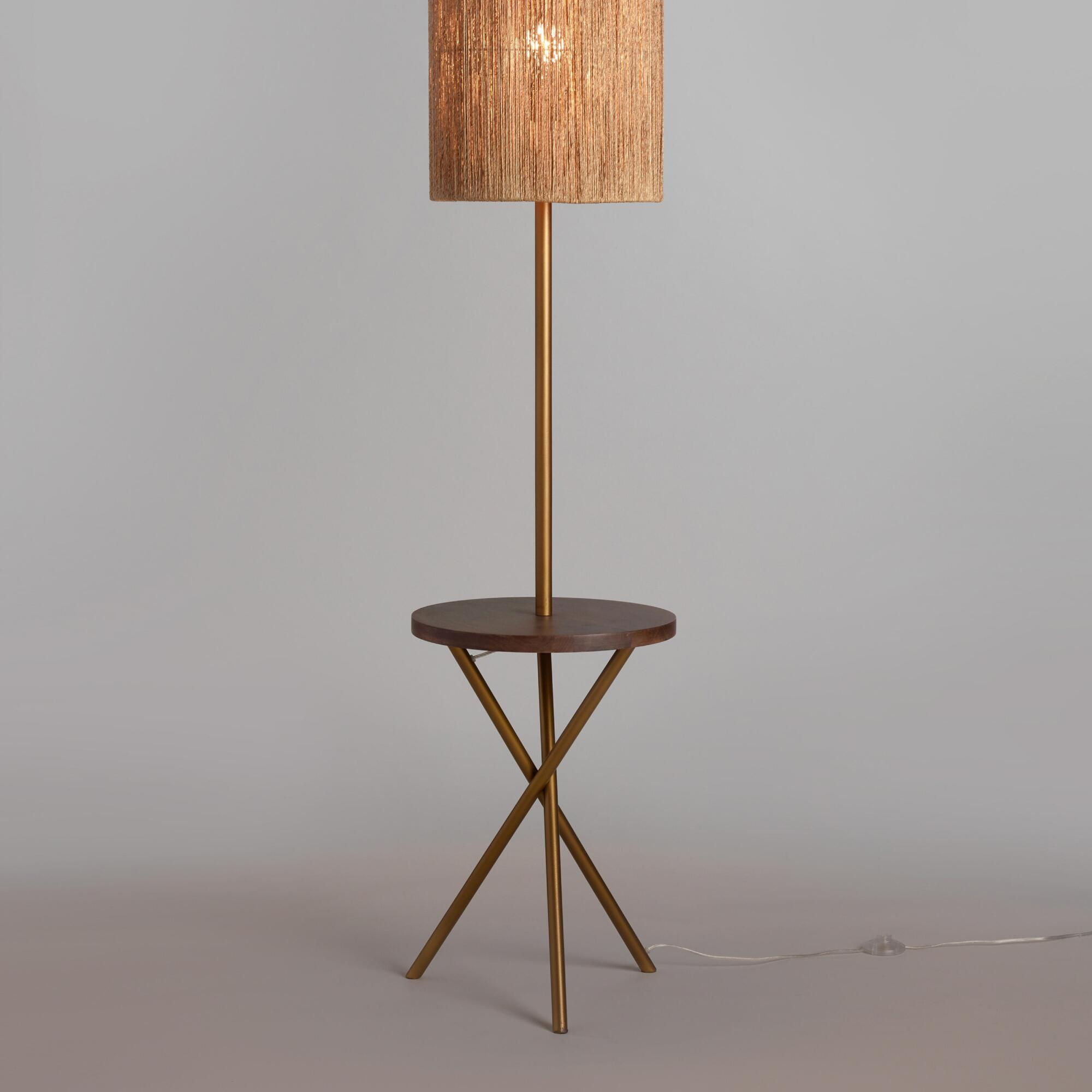 Floor lamp tables - Brass And Walnut Wood Tripod Floor Lamp Base