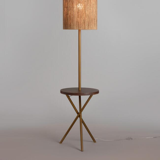 Brass and walnut wood tripod floor lamp base world market brass and walnut wood tripod floor lamp base aloadofball Choice Image