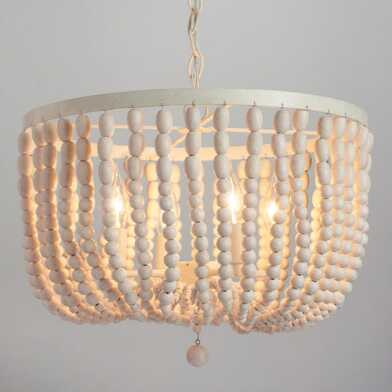 Antique Whitewash Wood Bead 4 Light Chandelier