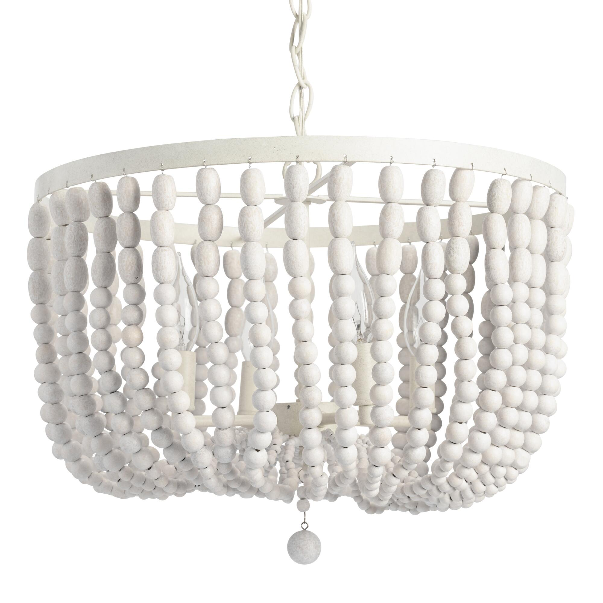 lamp hanging in bead wooden beads white chandelier