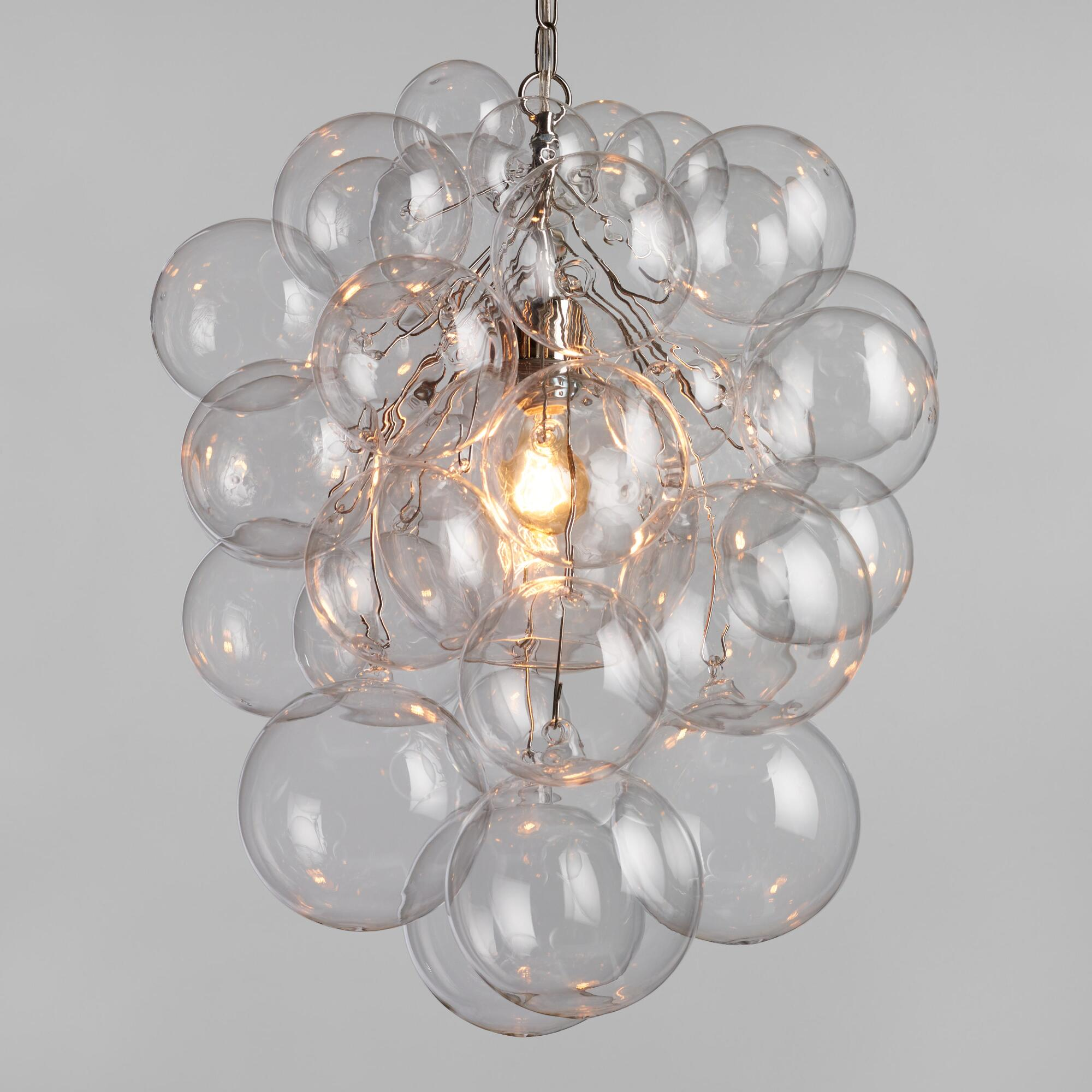 White washed wood sphere chandelier chandeliers by shades of light - Bubble Glass Orb Chandelier