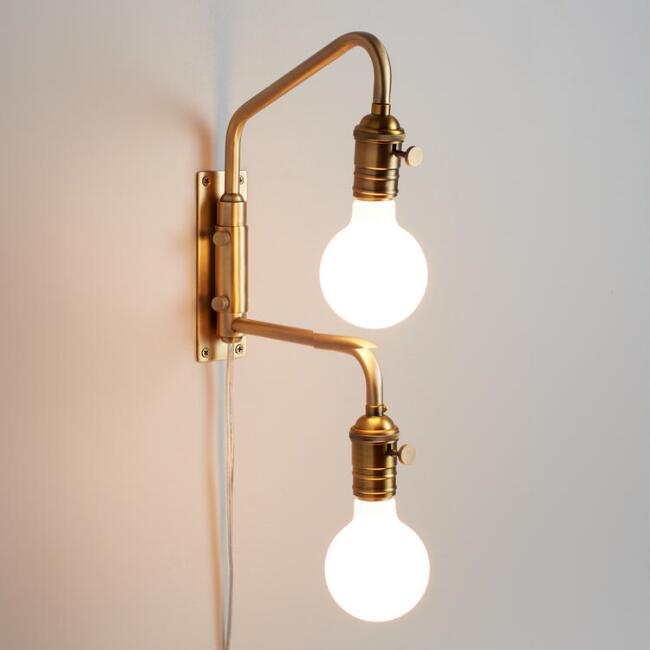 Antique Gold Dual Bulb Adjustable Wall Sconce