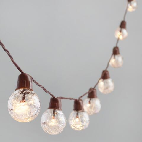 Clear Crackle Glass Solar Led 30 Bulb String Lights World Market