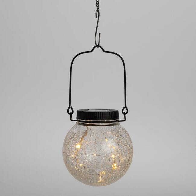 Clear Crackle Glass Orb Firefly Solar LED Lantern