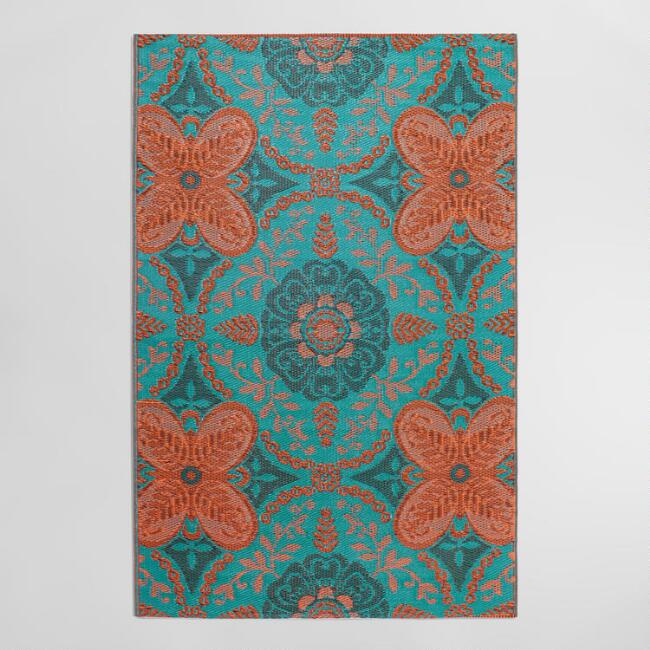 4'x6' Blue and Orange Floral Indoor Outdoor Rio Floor Mat