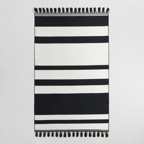 Black And Cream Stripe Woven Indoor Outdoor Rug Previous V3 V1