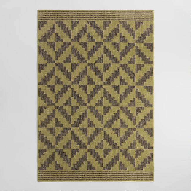 4.9'x6.9' Green and Gray Geo Flatweave Indoor Outdoor Rug