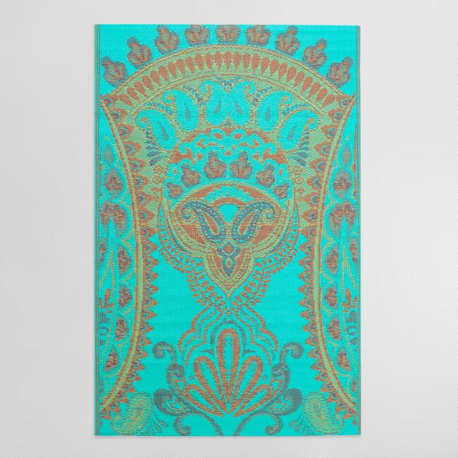 Blue Venice Paisley Indoor Outdoor Rio Floor Mat