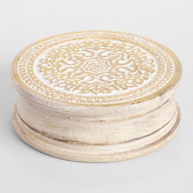 White Carved Round Wood Box