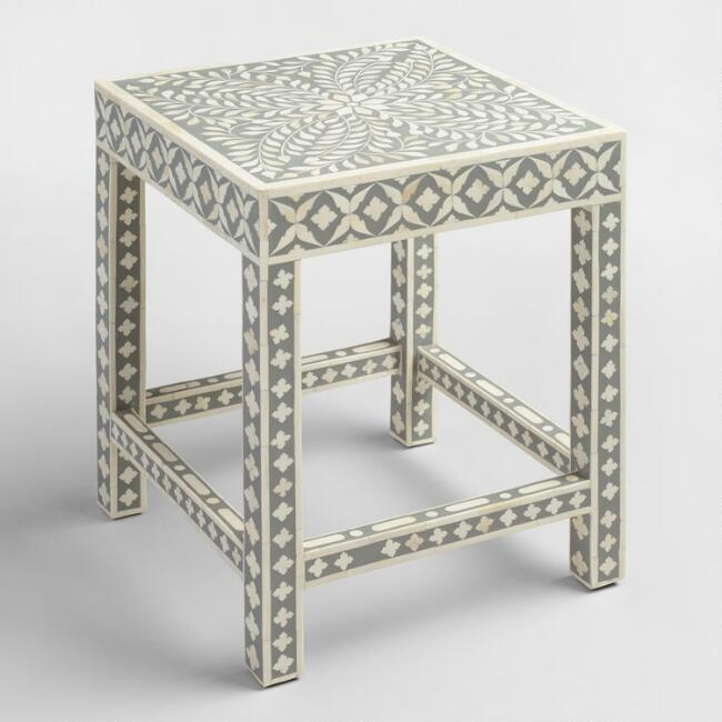 White and Gray Bone Inlay Accent Table