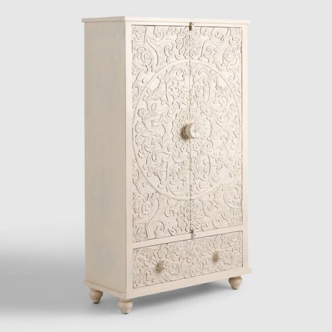 white carved wood floral armoire world market. Black Bedroom Furniture Sets. Home Design Ideas