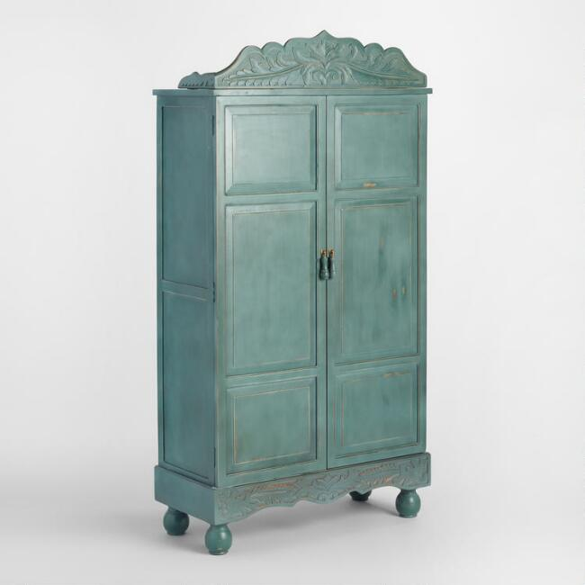 Antique Blue Floral Hand Carved Wood Armoire
