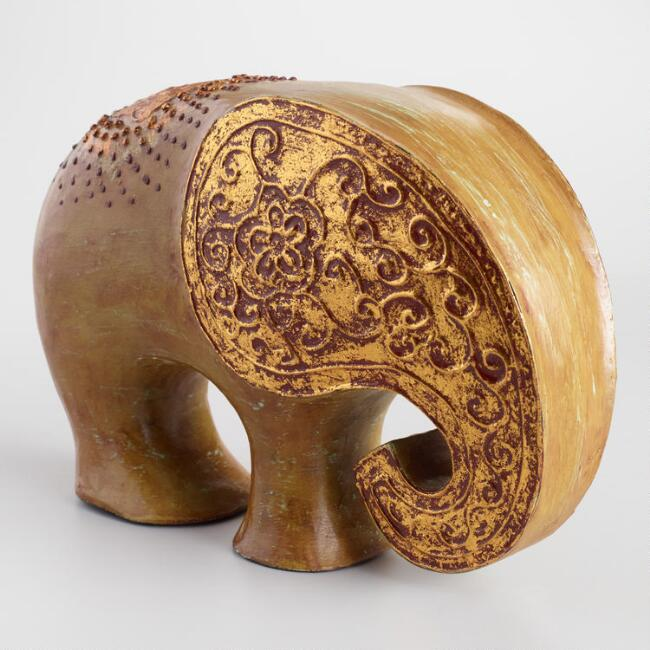 Carved Wood Elephant Statue