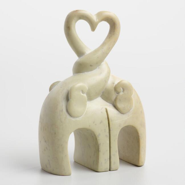 White Soapstone Kissing Elephants