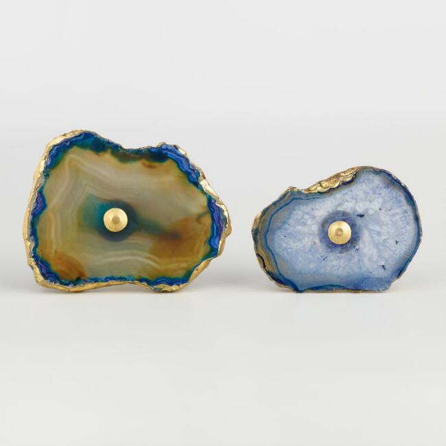 Blue Agate and Gold Knob Set of 2