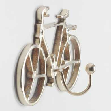 Silver Bicycle Wall Hook