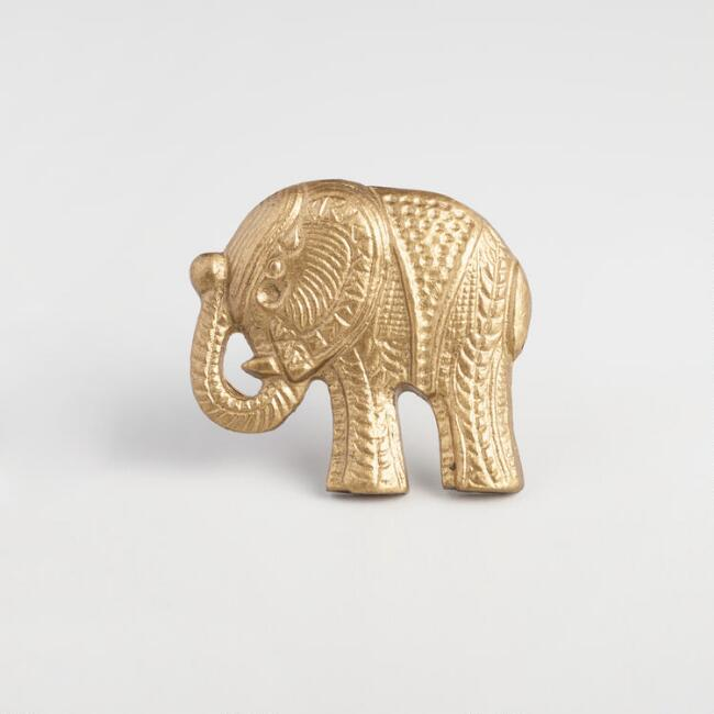 Brass Elephant Knobs Set of 2