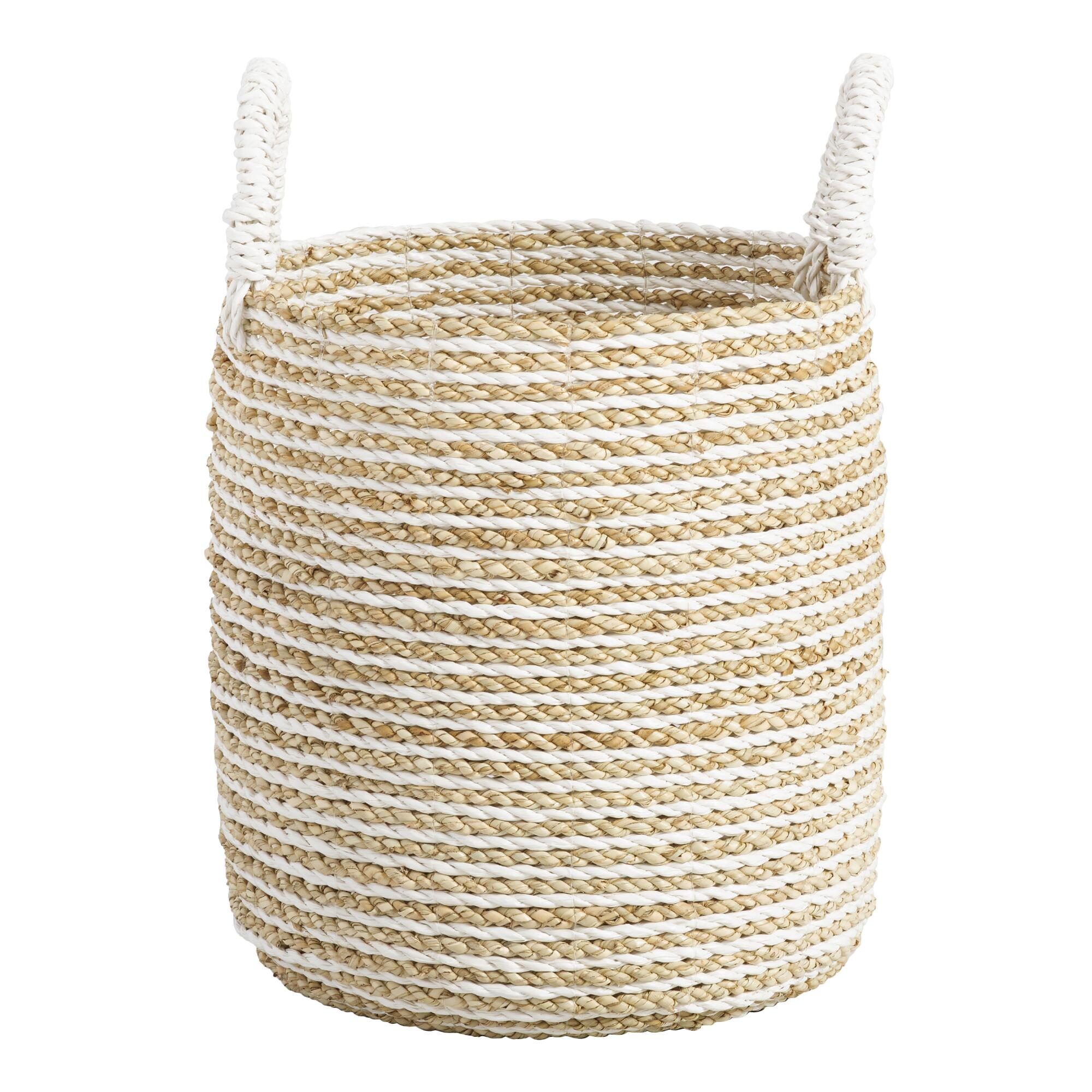Small Striped Seagrass Bianca Tote Basket: White - Natural Fiber by World Market