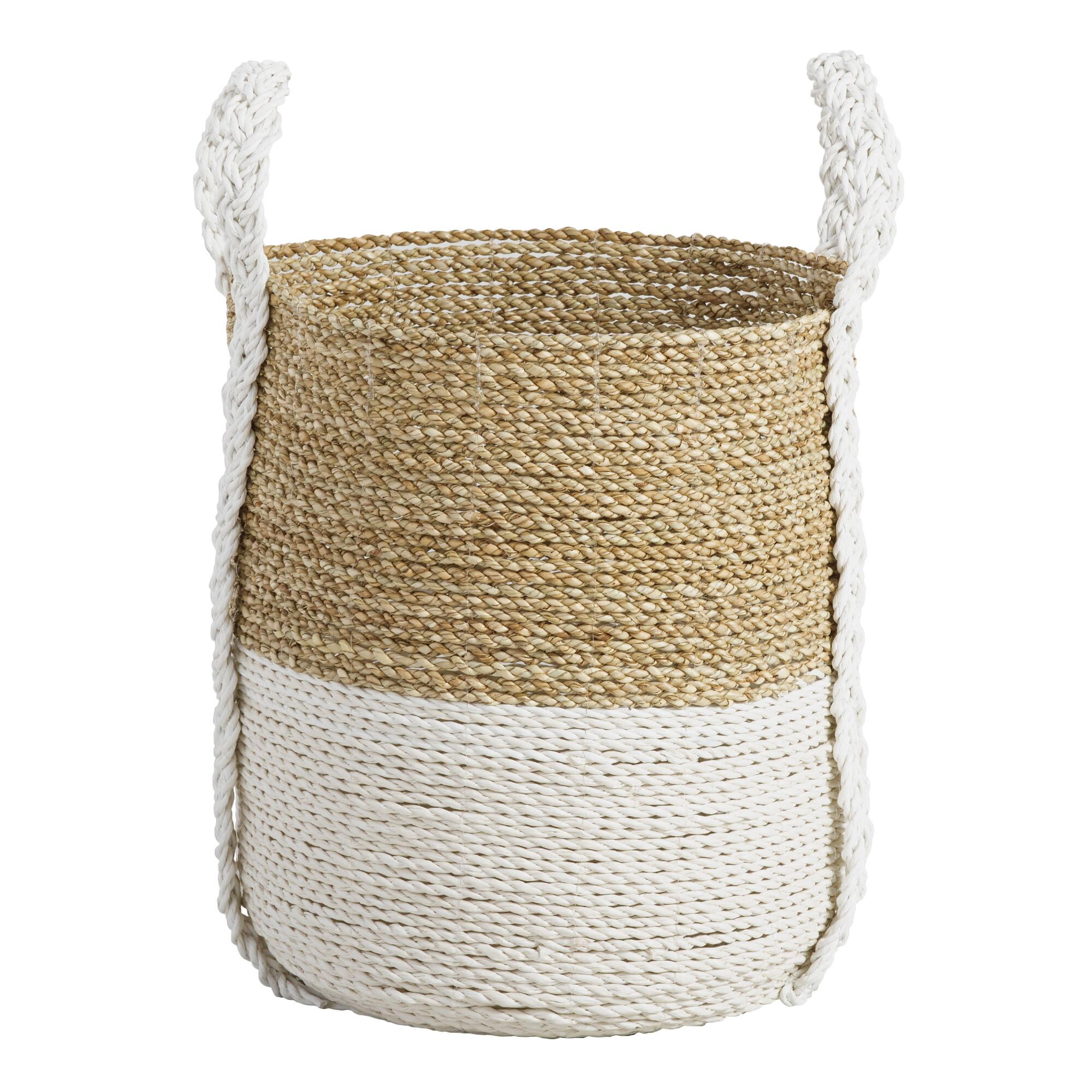 Medium Two Tone Seagrass Bianca Tote Basket: White - Natural Fiber by World Market