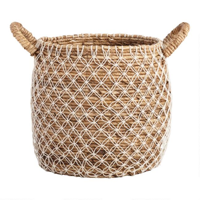 large macrame seagrass bianca tote basket world market