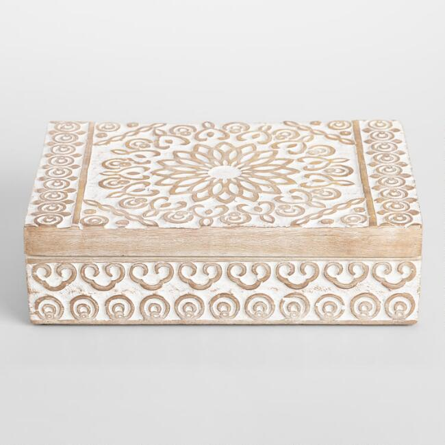 Whitewash Carved Wood Shikah Box