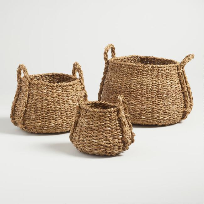 Natural Seagrass Rose Tote Baskets