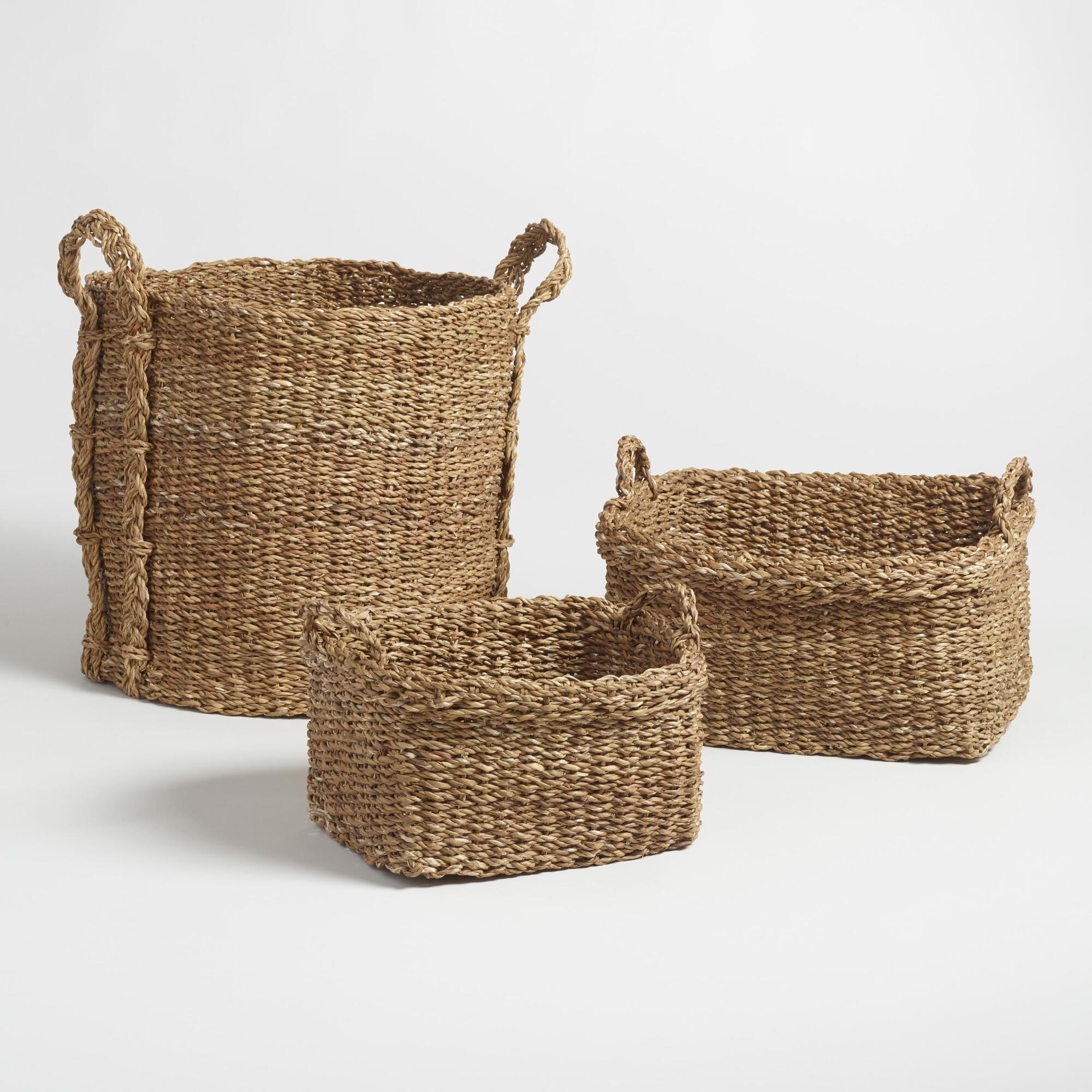 Home underbed storage baskets wicker underbed storage basket - Natural Seagrass Aurora Tote Baskets