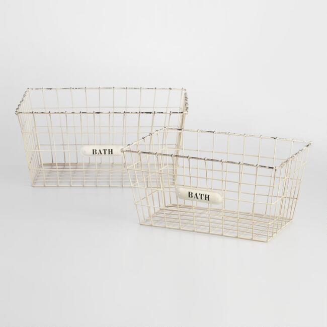 White Wire Annette Baskets