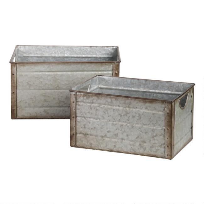 Galvanized Metal Walter Storage Bins