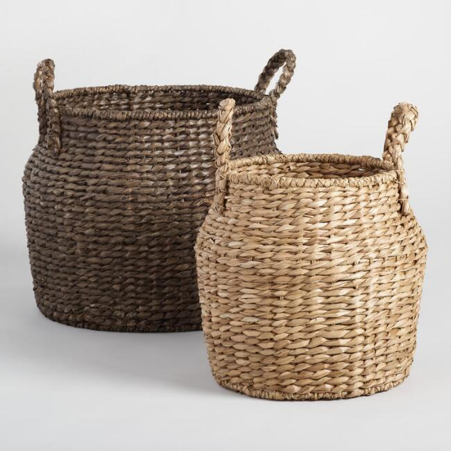 Natural and Espresso Hyacinth Arielle Jar Baskets