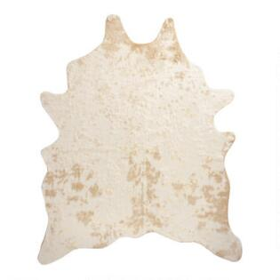 Gold Printed Faux Cowhide Area Rug