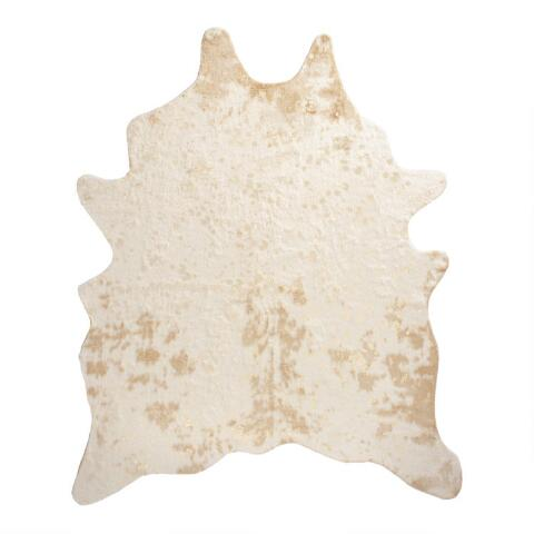 Gold Printed Faux Cowhide Area Rug World Market