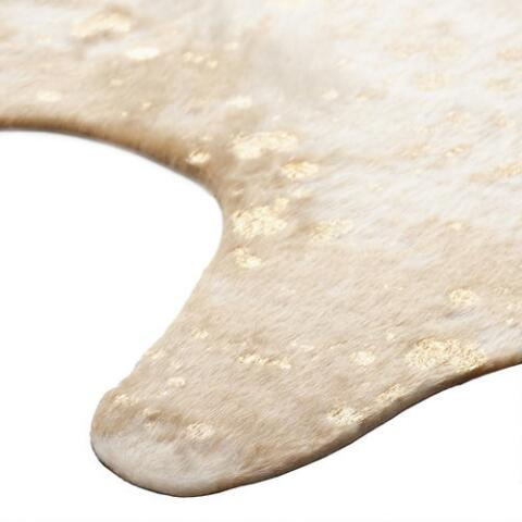 Gold Printed Faux Cowhide Area Rug Previous V3