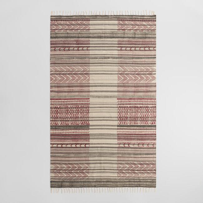 5'x8' Block Print Reversible Cotton Chindi Nazima Area Rug